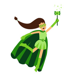 ecological superhero woman in green costume and vector image vector image