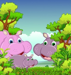 Family of hippo cartoon with forest background vector