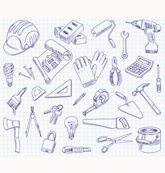 freehand drawing building materials vector image vector image