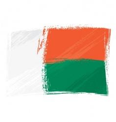 grunge Madagascar flag vector image vector image