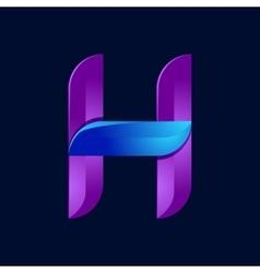 H letter volume blue and purple color logo design vector