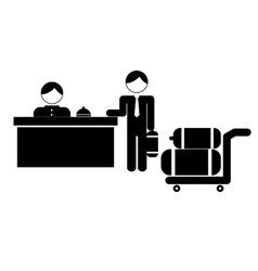 Hotel desk clerk and gues with luggage icon image vector