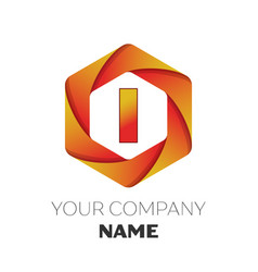 Letter i logo symbol on colorful hexagonal vector