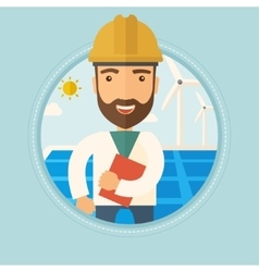 Male worker of solar power plant and wind farm vector