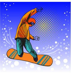 Man jumping on snowboard vector
