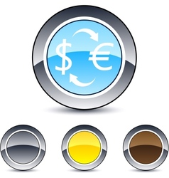 money exchange round button vector image