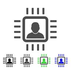 Neuro processor flat icon vector