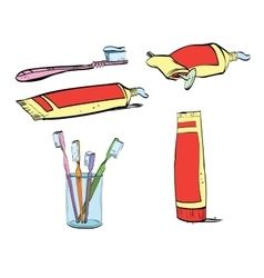 Retro set of dental hygiene toothpaste and vector