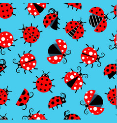seamless pattern with ladybugs flat on background vector image