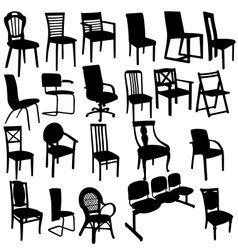 Set of armchairs silhouettes vector