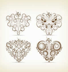 set of christmas hearts doodle for design vector image
