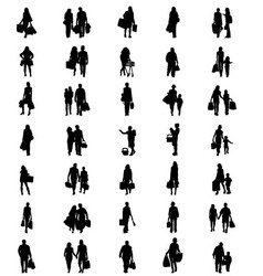 silhouettes of shopping vector image vector image