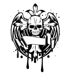 Skull with cross and wings vector