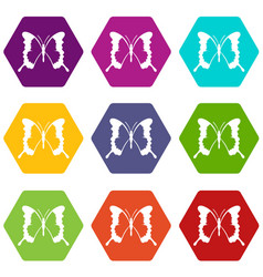 Swallowtail butterfly icon set color hexahedron vector