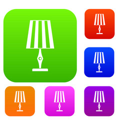 table lamp set color collection vector image vector image