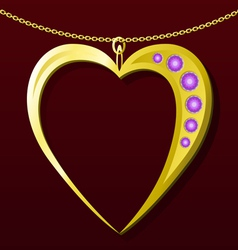 Valentine gold pendant vector image vector image