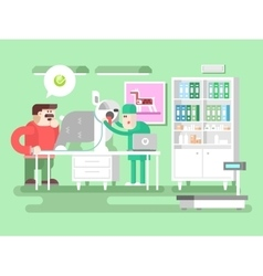 Veterinary clinic visitor and doctor vector image