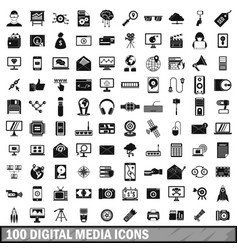 100 digital media icons set simple style vector