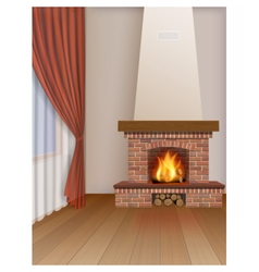 Living room interior with fireplace vector