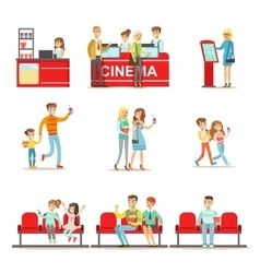 Happy people in cinema theatre purchasing tickets vector