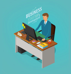 Business concept businessman man sitting at desk vector