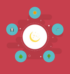 Flat icons night playful fish sunshine and other vector