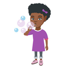 little african-american girl blowing soap bubbles vector image