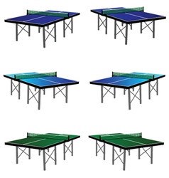 Ping pong table in three color vector