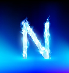 Letter with blue fire vector