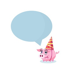 Pig in holiday hat with massage area for your text vector