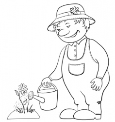 Gardener waters a flower contour vector