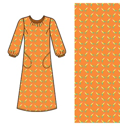 House dress nightdress front view vector