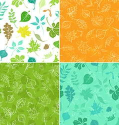 Set of seamless leaves patterns vector