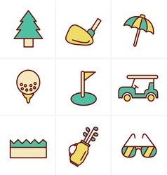 Icons style golf icons set design vector