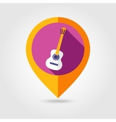 Guitar beach flat mapping pin icon vector