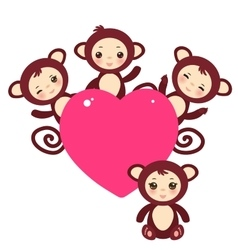 Set of funny brown monkey boys and girls card vector