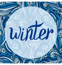 Winter card calligraphic word with blue vector