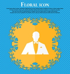 Silhouette of man in business suit icon floral vector
