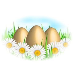 background with eggs and flowers vector image