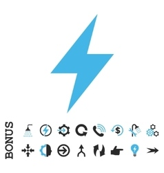 Electric strike flat icon with bonus vector