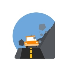 Rockslide Crushing The Car Natural Force Sticker vector image