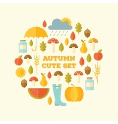 Autumn modern style flat design set vector image