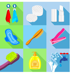 Bathroom stuffs icons set flat style vector
