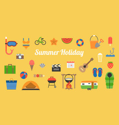 big set of summer holiday activities icon vector image vector image