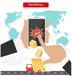 Buying and fast delivery by smartphone vector