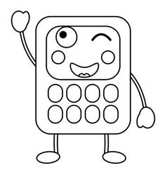 Cartoon calculators kawaii school character vector