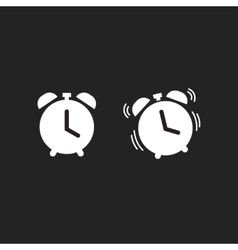 Clock alarm icon isolated on dark black vector image