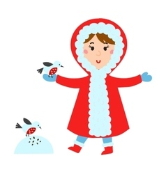 Cute girl in red jacket makes snow bird vector
