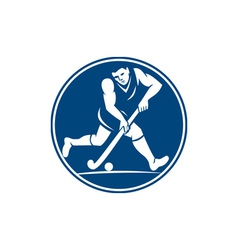 Field hockey player running with stick icon vector
