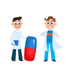 Flat male doctor with pill super doctor vector